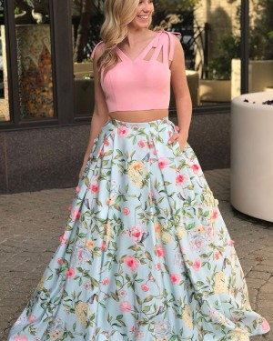 Floral Print Two Piece V-neck Cutout Prom Dress with Pockets PM1423