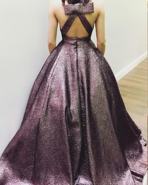 Deep V-neck Metallic Brown Prom Dress with Pockets PM1429