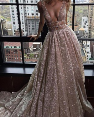 Champagne Pleated Sparkle Sequined Deep V-neck Evening Dress PM1430