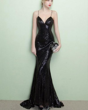 Spaghetti Straps Black Sequined Mermaid Evening Dress PM1436