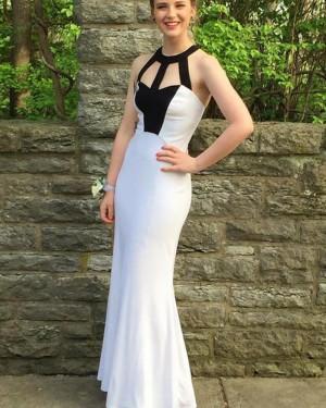 Simple Cutout High Neck Satin Mermaid Prom Dress PM1440