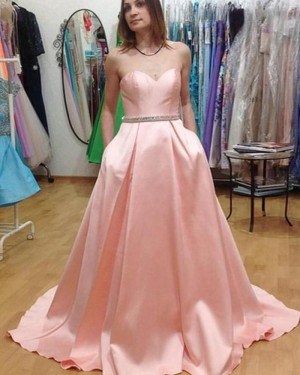 Sweetheart Pink Satin Prom Dress with Pockets PM1442