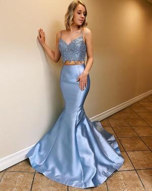 Scoop Neck Light Blue Two Piece Satin Mermaid Formal Dress PM1801