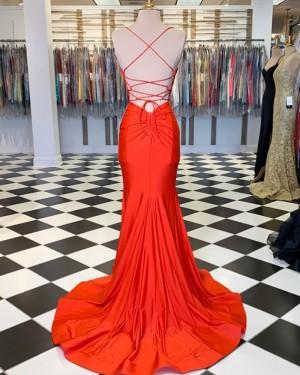 Simple Orange Spaghetti Straps Satin Mermaid Formal Dress PM1806