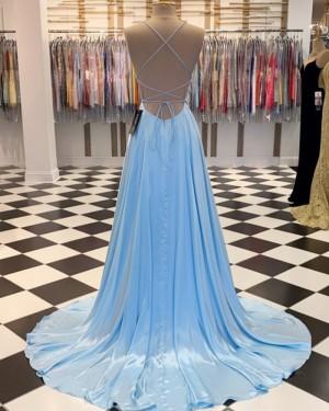 Simple Spaghetti Straps Light Blue Satin A-line Formal Dress PM1807