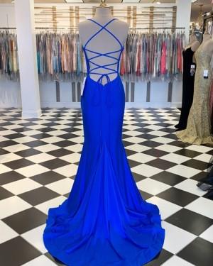 Blue Spaghetti Straps Satin Mermaid Formal Dress PM1809