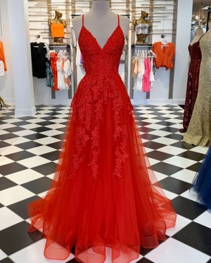 Red Spaghetti Straps Lace Appliqued Tulle Formal Dress PM1810