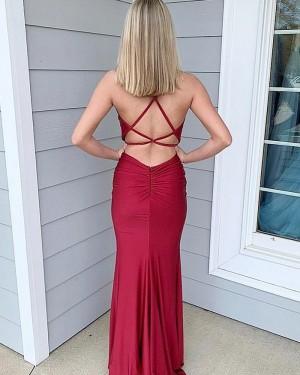 Simple Spaghetti Straps Burgundy Satin Mermaid Formal Dress PM1813