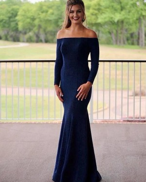 Simple Off the Shoulder Navy Blue Mermaid Formal Dress with Long Sleeves PM1819
