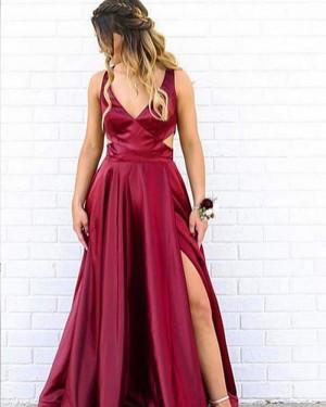 Simple Burgundy V-neck Cutout Satin Formal Dress with Side Slit PM1823