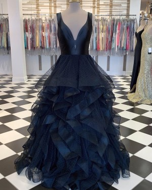 V-neck Polka Dots Black Tulle Ruffled Formal Dress PM1828