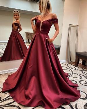 Burgundy V-neck Satin A-line Formal Dress with Pockets PM1829