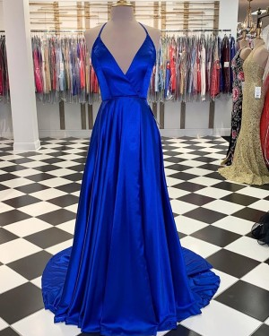 Simple Blue Satin Halter A-line Long Formal Dress with Slit PM1830