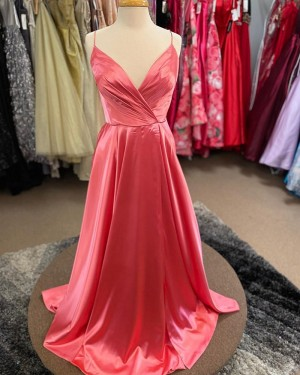 Simple Peach Pink Spaghetti Straps Ruched Satin Formal Dress PM1831
