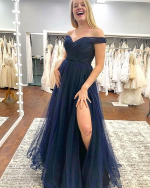 Navy Blue Off the Shoulder Tulle Pleated Formal Dress with Side Slit PM1833