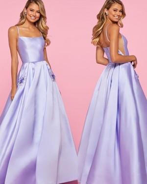 Lavender Satin Spaghetti Strap Formal Dress with Beading Pockets PM1835