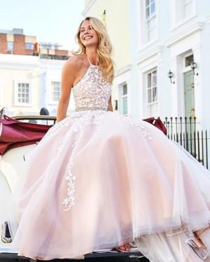 Lace Appliqued Halter Light Pink Tulle Formal Dress PM1836