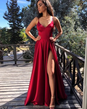 Simple Red Spaghetti Straps Pleated Formal Dress with Side Slit PM1843