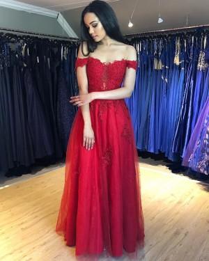 Lace Appliqued Off the Shoulder Red Formal Dress PM1844