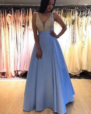 V-neck Sky Blue Beading Bodice Pleated Formal Dress PM1846