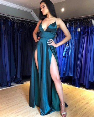 Sexy Teal Spaghetti Straps Satin Formal Dress with Side Slits PM1847