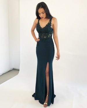 Burgundy V-neck Lace Bodice Mermaid Formal Dress with Side Slit PM1851