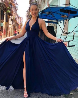 Simple Navy Blue Halter Pleated Satin Formal Dress with Side Slit PM1853