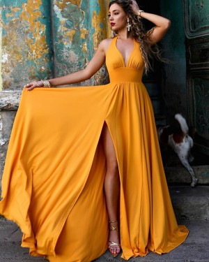 Simple Daffodil Halter Ruched Satin Formal Dress with Side Slit PM1856