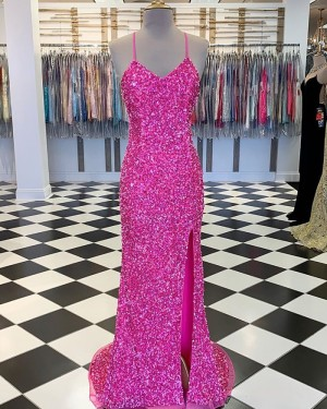 Rose Red Spaghetti Straps Sequin Formal Dress with Side Slit PM1858