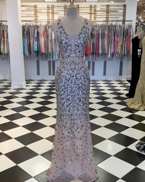 Elegant Multi-Color V-neck Beading Mermaid Formal Dress PM1859