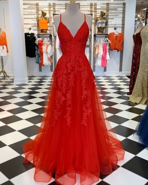 Lace Spaghetti Straps Appliqued Red Tulle Formal Dress PM1860