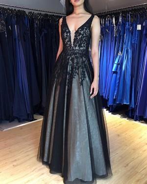 Lace Appliqued V-neck Black Formal Dress PM1869