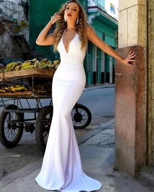 White Halter Lace Bodice Mermaid Formal Dress PM1871