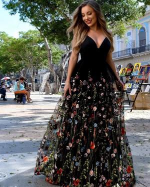 Black V-neck Satin A-line Formal Dress with Floral Lace Skirt PM1884