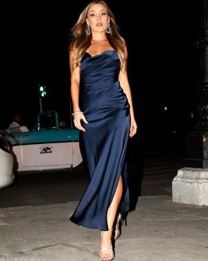 Navy Blue Spaghetti Straps Satin Formal Dress with Side Slit PM1885