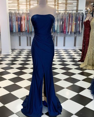Simple Ruched Strapless Navy Blue Satin Mermaid Formal Dress with Middle Slit PM1890
