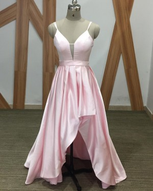 Pink High Low Spaghetti Straps Simple Prom Dress PM1900