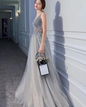 Bodice V-neck Grey Pleated Beading Evening Dress with Side Slit PM1901