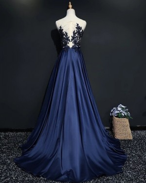 Sheer Neck Navy Blue Beading Bodice Satin Evening Dress PM1902