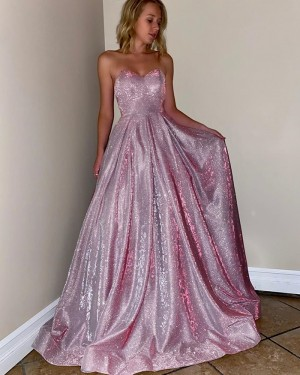 Sparkle Sweetheart Metal Long Pink Prom Dress with Pockets PM1905