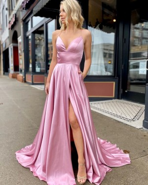 Pink Satin Slit Spaghetti Straps Simple Prom Dress with Pockets PM1906