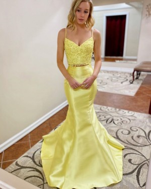Lace Bodice Two Piece Mermaid Yellow Prom Dress PM1907