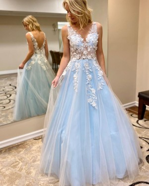 V-neck Lace Applique Tulle Cyan Prom Dress PM1908