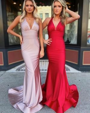 Halter Neckline Ruched Satin Simple Red Prom Dress PM1910