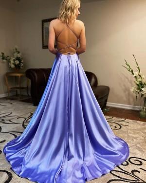 Light Blue Satin Simple Spaghetti Straps Prom Dress with Side Slit PM1911