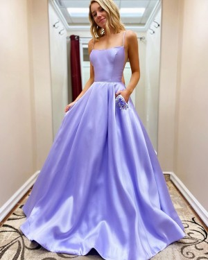 Satin Spaghetti Straps Light Purple Prom Dress with Beading Pockets PM1912