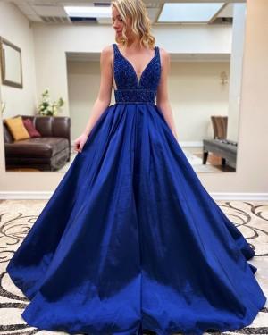 Beading Bodice Satin V-neck Royal Blue Prom Dress with Pockets PM1915
