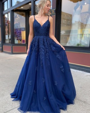 Lace Bodice Tulle Spaghetti Straps Navy Blue Prom Dress PM1916