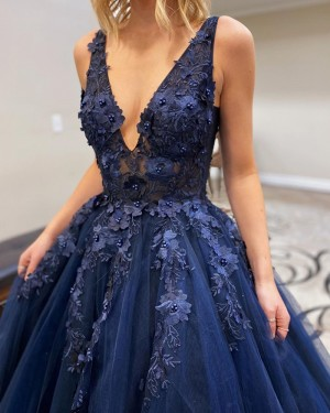 Beading Applique Tulle V-neck Navy Blue Prom Dress PM1917