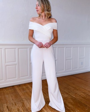 Simple Off the Shoulder Ruched Bodice Satin Party Jumpsuit PM1919